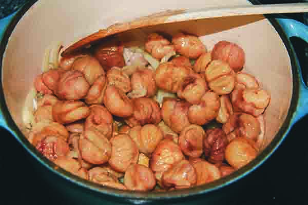 4. Add the chestnuts.